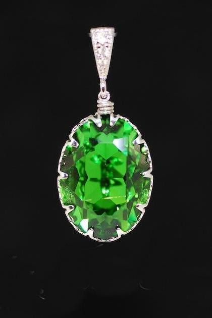 Cubic Zirconia Detailed Pendant with Swarovski Fern Green Oval Crystal - Wedding Jewelry, Bridal Pendant, Bridesmaid MOH Gift (P041)