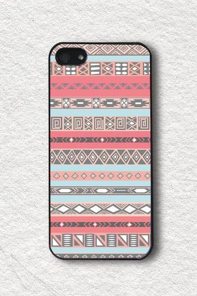 Blue and Pink Aztec Pattern - iPhone 4 Case, iPhone 4s Case, iPhone 5 Case, iPhone 5s Case, Protective iPhone Cover