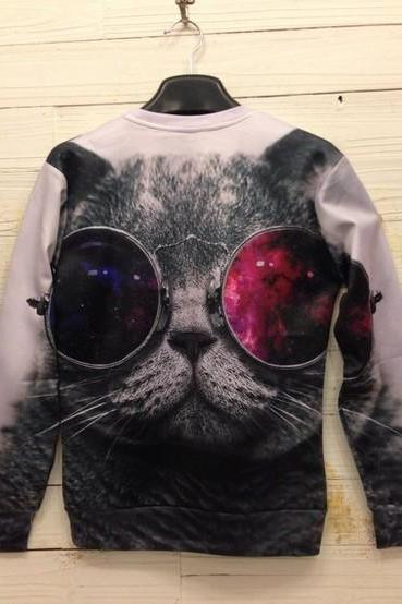 Sexy Ultra-realistic 3D animal lovers cats logo pullover sweater