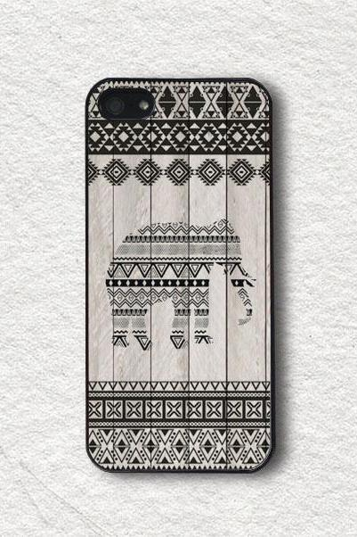 Apple iPhone Case, Aztec iPhone Case for iPhone 5s, iPhone 5, iPhone 4s, iPhone 4, iPhone Cover - Wooden Tribal Aztec Elephant