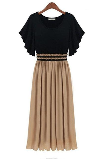 Black and Apricot Color Blocking Pleated Maxi Dress