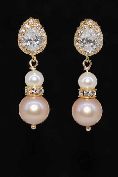 Wedding Earrings, Bridesmaid Jewelry - Gold Plated CZ Teardrop Earring, Rondelle, Swarovski Cream, Powder Almond Pearl (E595)