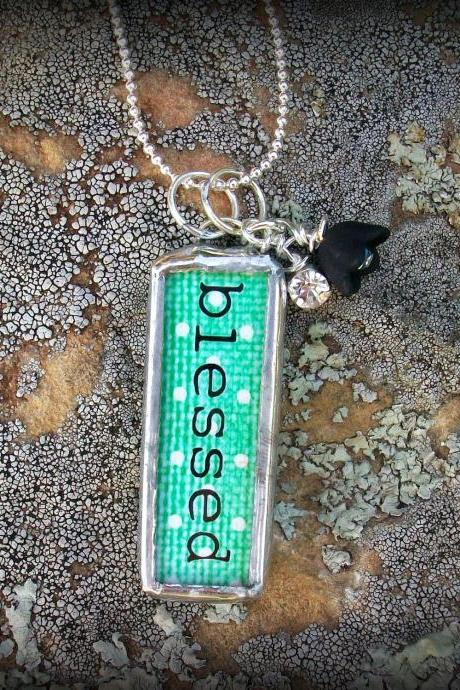 BLESSED Glass Pendant Necklace with rhinestones and beads....
