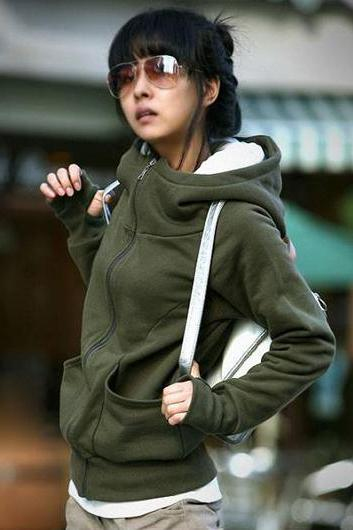 Korean Stylish Fleece Inside Hooded Coat With Pockets - Army Green