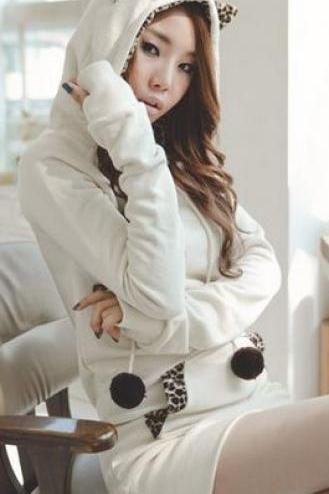 Cute Leopard Long Pullover Hooded Sweatshirt w/ Cat Ears