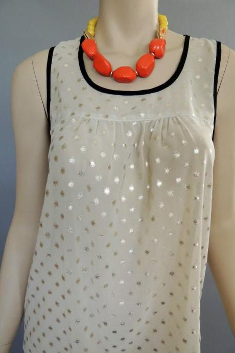 VINTAGE 70s POLKA DOTS EGYPTIAN STYLE CHIFFON BLOUSE TOP MEDIUM SLEEVELESS CHIC