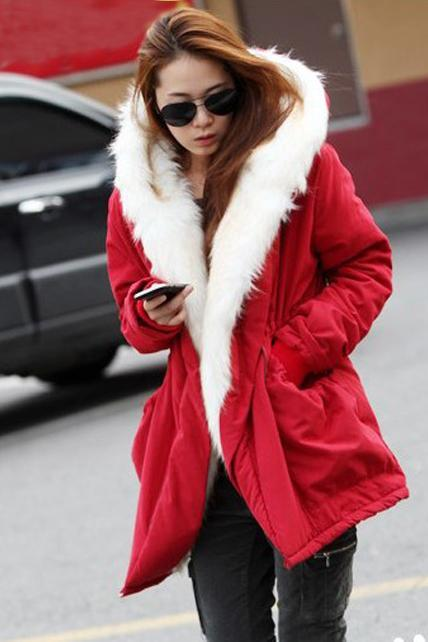 Warm Woman Fur Decoration Hooded Collar Coat - Red