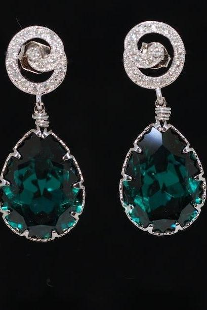 Wedding Earrings, Bridesmaid Earrings, Swirl Cubic Zirconia Detailed Earring with Swarovski Emerald Green Teardrop (E276)