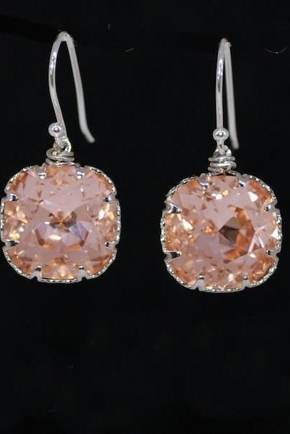 Swarovski Square Light Peach Crystal with Sterling Silver Earring Hook - Wedding Earrings, Bridesmaid Earrings, Bridal Jewelry (E508)