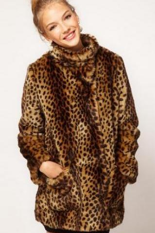 Elegant Warm Faux Fur Leopard Long Overcoat