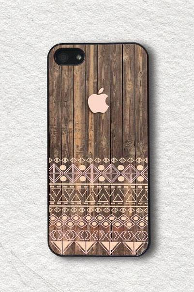 iphone Case for iphone 4, iphone 4s, iphone 5, iphone 5s, iphone Cover, Protecive iphone case - Geometric Aztec with Printed Wood