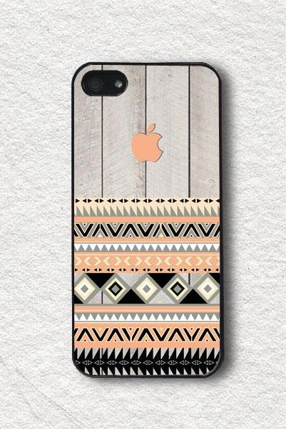 iphone Case for iphone 4, iphone 4s, iphone 5, iphone 5s, iphone Cover, Protecive iphone case - Geometric Aztec With Peach Apple