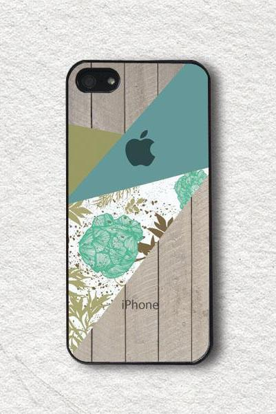 iphone Case for iphone 4, iphone 4s, iphone 5, iphone 5s, iphone Cover, Protecive iphone case - Green Floral Blocks with Wood