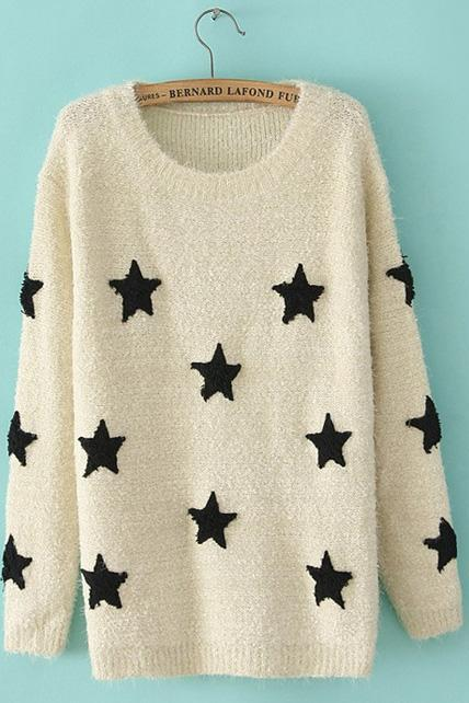 Fashionable Round Neck Pullover Sweaters with Star Print - Beige
