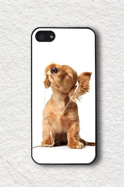 iphone Case for iphone 4, iphone 4s, iphone 5, iphone 5s, iphone Cover, Protecive iphone case - Dog and Earpiece