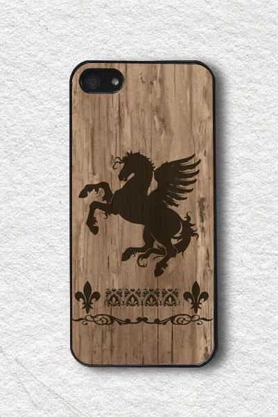 iphone Case for iphone 4, iphone 4s, iphone 5, iphone 5s, iphone Cover, Protecive iphone case - Black Pegasus with Wood