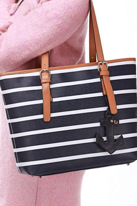 Fashion Navy striped Anchor Handbag&Shoulder Bag