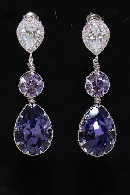Cubic Zirconia Teardrop Earring with Swarovski Violet Round, Tanzanite Teardrop Crystals - Wedding Jewelry, Bridal Earrings (E563)