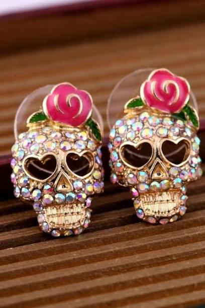 Cool Rose Skull Love Vintage Earrings