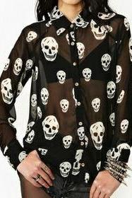 Hot Skull Chiffon Long Sleeved Sheer Blouse