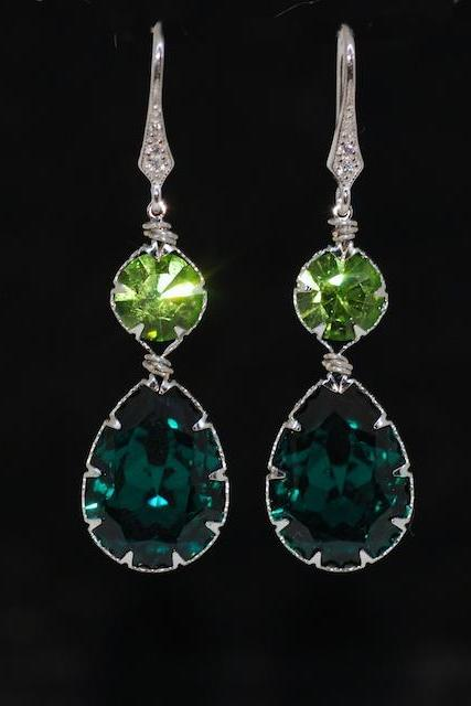 Cubic Zirconia Detailed Earring Hook with Swarovski Round Peridot, Emerald Green Teardrop Crystals - Wedding Jewelry, Bridal Earrings (E568)