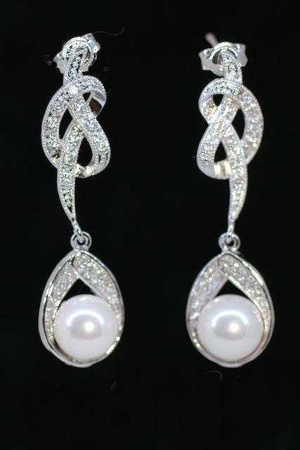 Cubic Zirconia Detailed Knot Earring with White Pearl on Cubic Zirconia Detailed Teardrop - Wedding Jewelry, Bridal Earrings (E308)