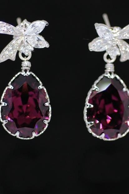 Wedding Earrings, Bridesmaid Earrings, Cubic Zirconia Detailed Ribbon Earring with Swarovski Amethyst Teardrop (E299)