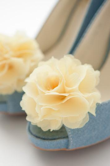 Set of 5 pairs,Chiffon flower shoe clips for bridal wedding/Choose your color