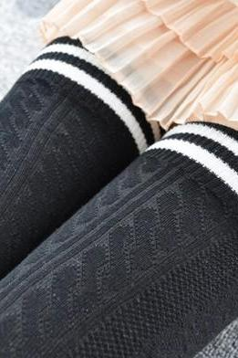 Preppy Stripped Over Knee Socks