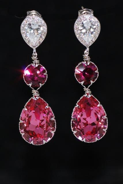 Cubic Zirconia Teardrop Earring with Swarovski Fuchsia Round, Rose Teardrop Crystals - Wedding Jewelry, Bridal Earrings (E571)