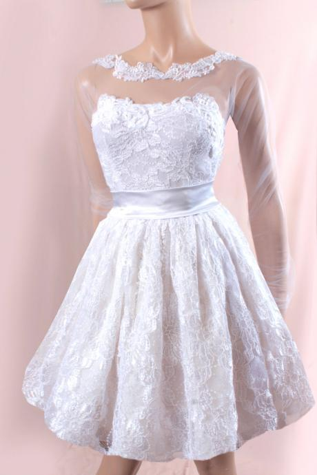 Short Wedding lace dress/Long tulle Sleeves Bridal Gown