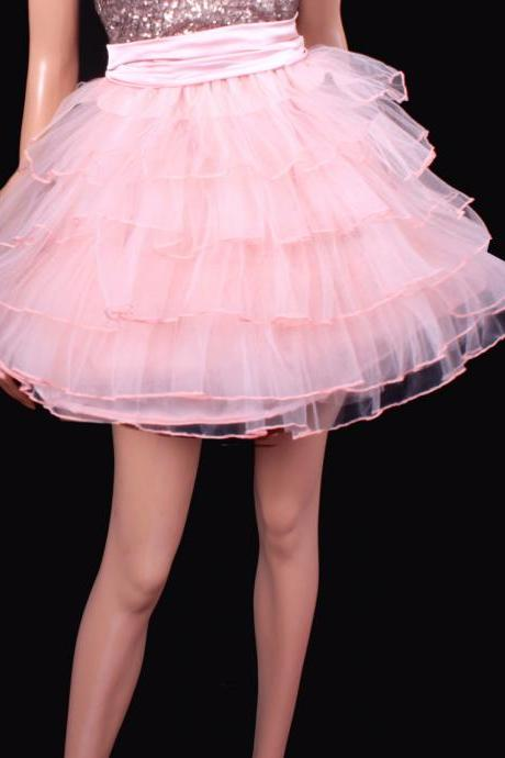 Layered tutu tulle mini / sweet pink color / skirt