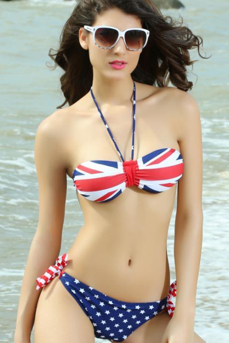 Fashion Flag Pattern Push-up Halter Bikini Set