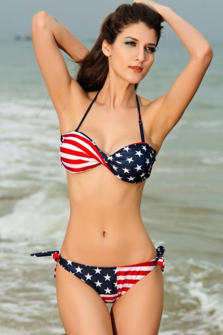 Fashion And Sexy American flag Swimsuit Bikini Set
