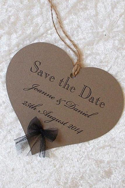 5 Heart x Save the Date Cards - Angeline Vintage Style (Ref 217)