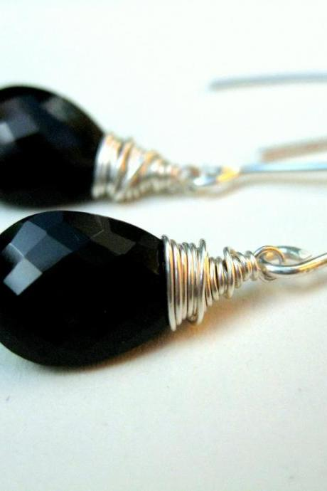 Smokey quartz earrings, black gemstone wire wrapped dangle earrings