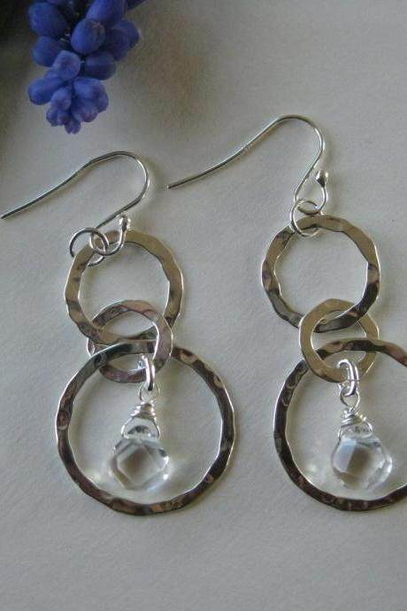 Silver hoop and crystal earrings, hammered multihoop earrings
