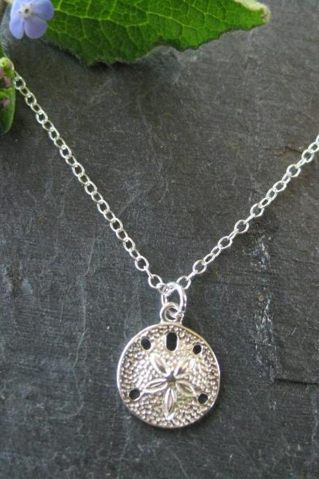 Sand dollar necklace, cute everyday sand dollar pendant
