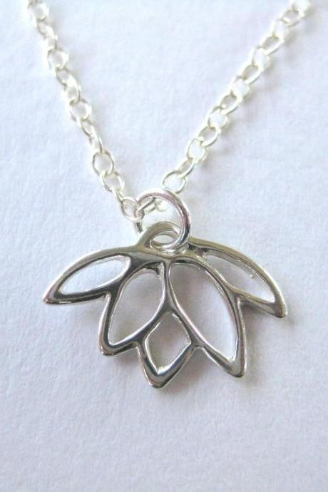 Silver lotus charm necklace, simple lotus pendant necklace