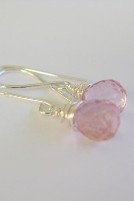 Sterling silver wrapped pink mystic quartz gemstone dangle earrings. Simple everyday or wedding party earrings.