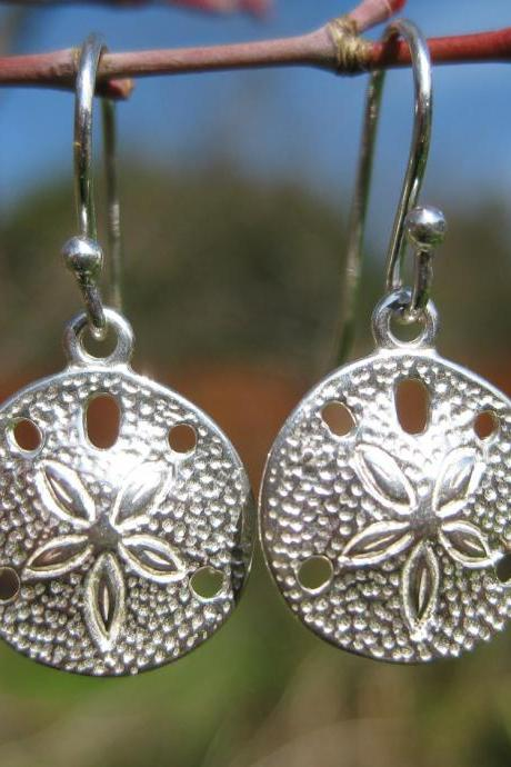 Sand dollar earrings, sterling silver sand dollars