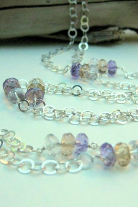 Long ametrine necklace, sterling silver circle chain with multicolor ametrine gemstones.