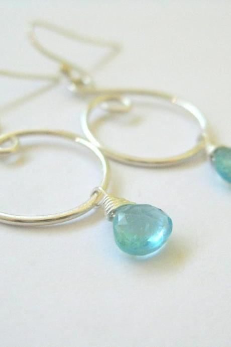 Blue gemstone earrings, apatite silver swirl earrings, unique curvy design