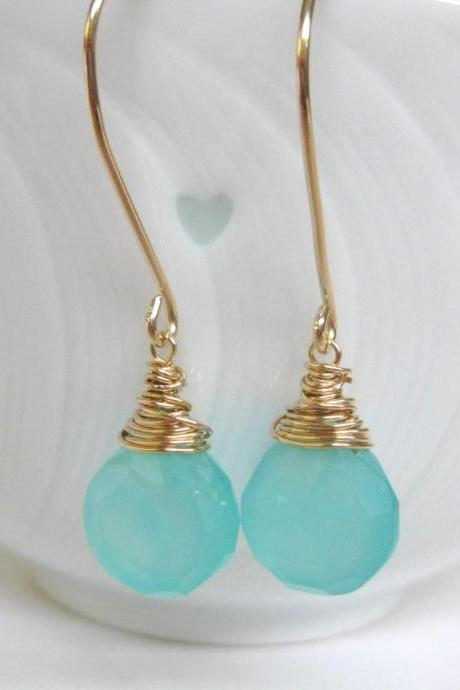 Aqua blue chalcedony earrings, gold and blue gemstone dangle earrings