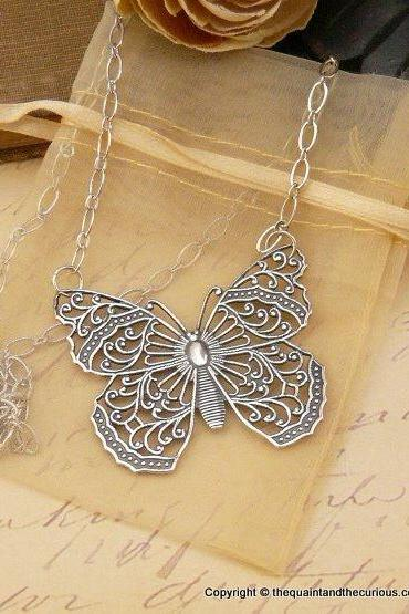 Silver Butterfly Necklace - Pendant Jewelry - Mothers Day Graduation Gift Present