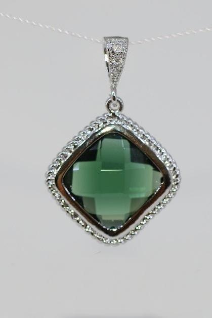 Wedding Jewelry, Emerald Green Glass Quartz Pendant (P050)