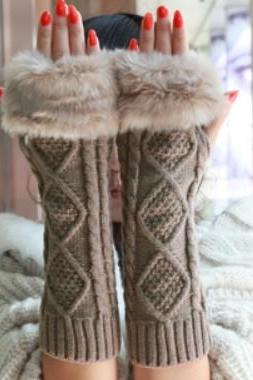 Fur Knitted Cable Warm Wristers