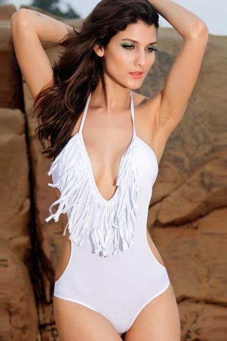 Super Sexy One Piece DeepV-neck Solid Swimsuit - White