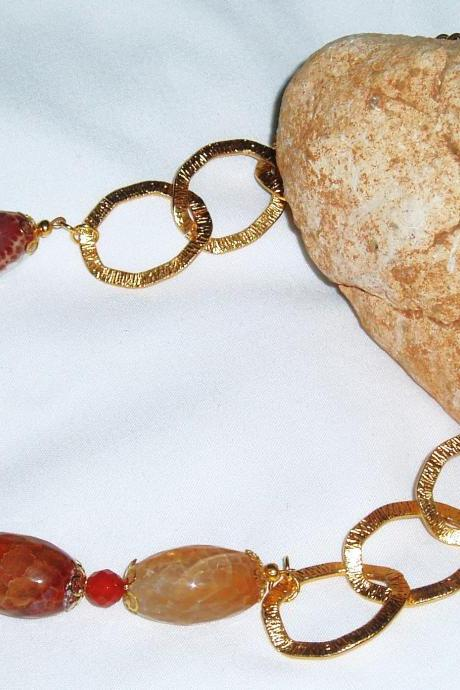 Agate Gold Plated Chain Necklace