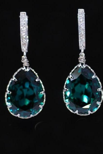 Wedding Earrings, Bridesmaid Earrings,Cubic Zirconia Detailed Earring Hook with Swarovski Emerald Green Teardrop Crystal (E337)